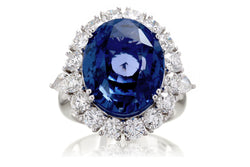 Oval Sapphire Heirloom Unheated Ceylon Ring