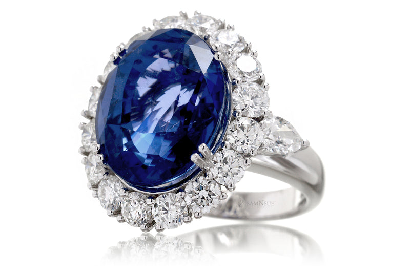 Unheated Blue Oval Sapphire Diamond Halo Ring (19.99 ct. tw.)