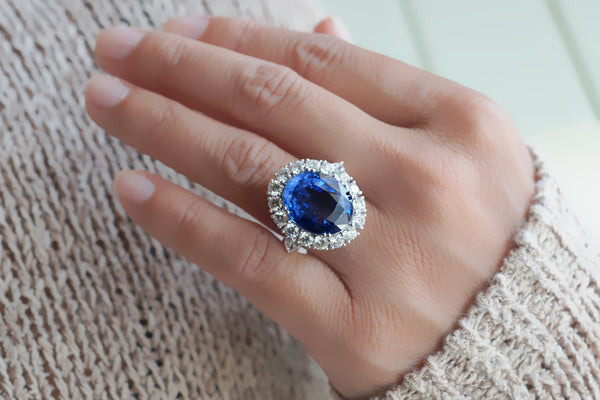 Unheated Blue Sapphire Diamond Halo Ring (19.99 ct. tw.)