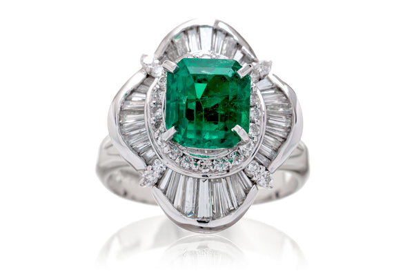 The Emersyn Step Cut Emerald Platinum Ring (2.77ct. tw.)