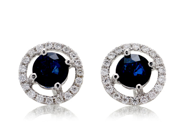 Sapphire Open Halo Stud Earrings (1.5ct. tw.)
