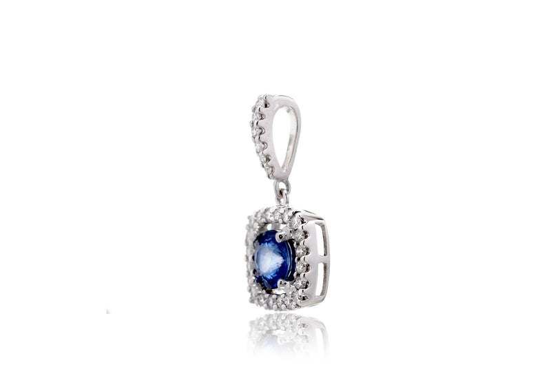 The Round Sapphire With Cushion Diamond Halo Pendant