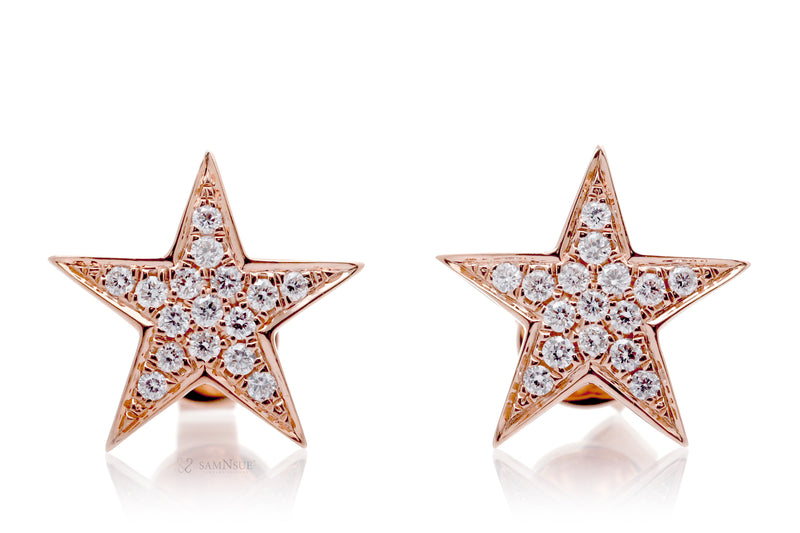 Star Diamond Stud Earrings In Rose Gold
