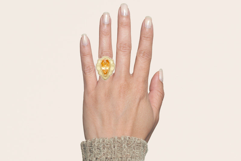 The Agatha Pear Citrine Ring
