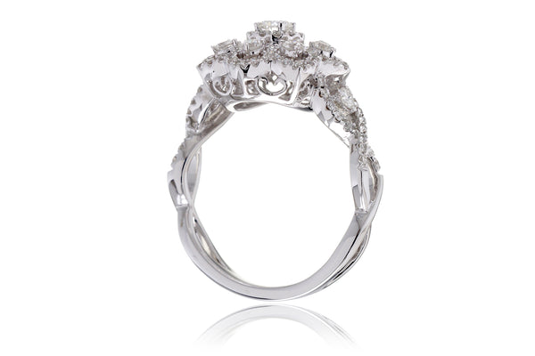 The Snow Flake Diamond Ring With Twist Band