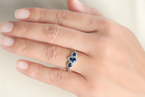 The Nellie Pear Sapphire Ring (6x4)