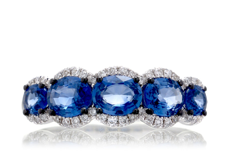 Five Stone Sapphire Anniversary Band With Half Diamond Halo | The Melina East West In White Gold
