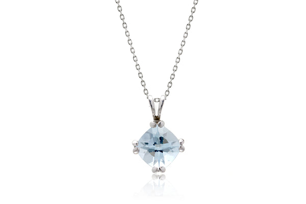 The Twin Wire Cushion Aquamarine Pendant (7x7)