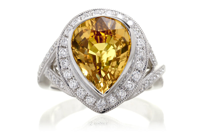 Pear Yellow Sapphire Diamond Vintage Engagement Ring | Ceylon