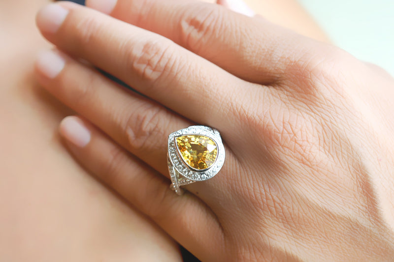 The Libby Pear Yellow Sapphire Ring (6.02 ct. tw.)