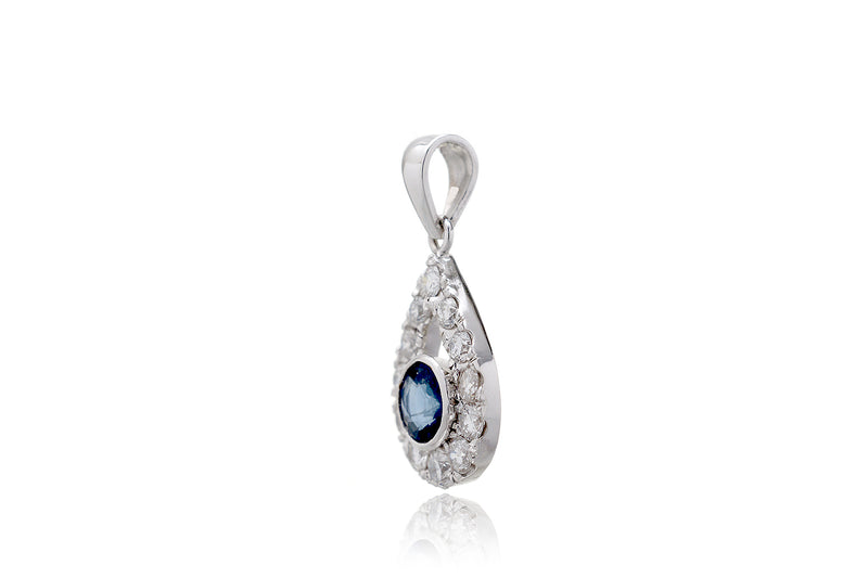 The Round Sapphire With Teardrop Halo Pendant