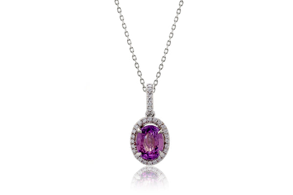The Oval Grape Sapphire Diamond Halo Pendant