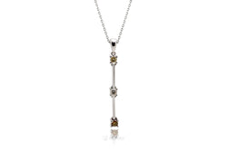 Three Stone Drop Diamond Pendant (multi-color)