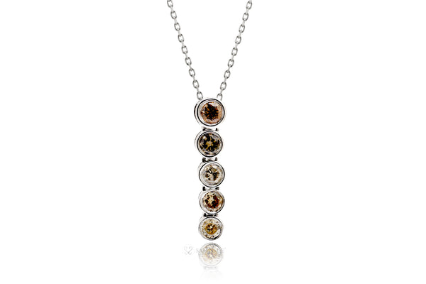 Five Diamond Bezel Pendant (multi-color)