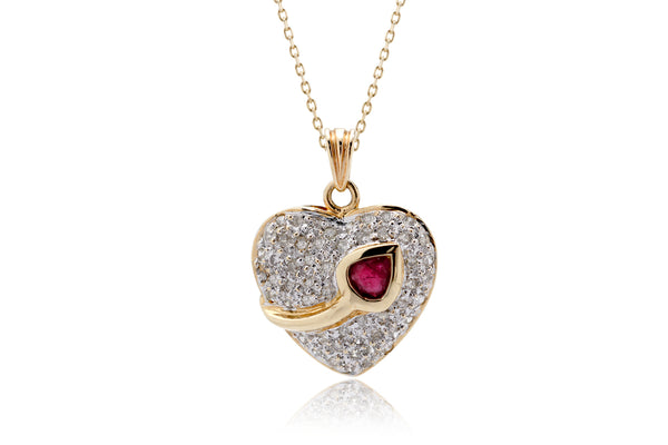 The Tulip Ruby Diamond Heart Pendant