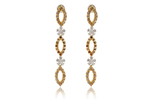 Yellow Marquise Diamond Dangle Earring Studs