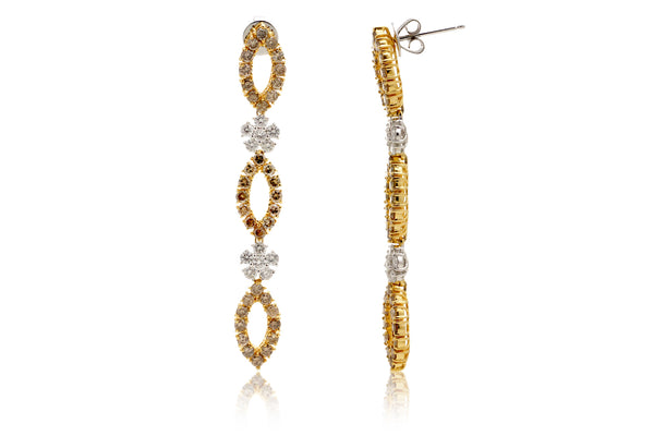 Yellow Diamond Dangle Earrings
