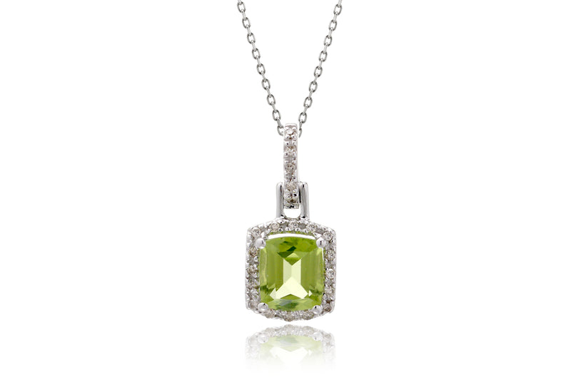 The Clora Peridot Diamond halo Pendant
