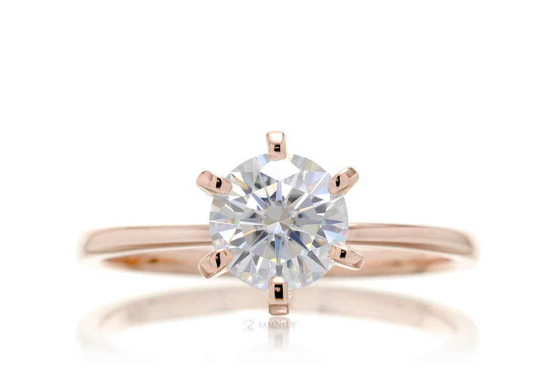 Round Moissanite Solitaire Engagement Ring | The Adeline In Rose Gold