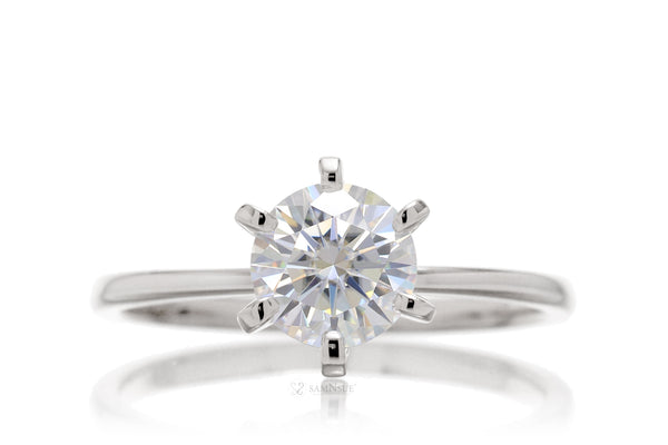 Round Moissanite Solitaire Engagement Ring | The Adeline In White Gold