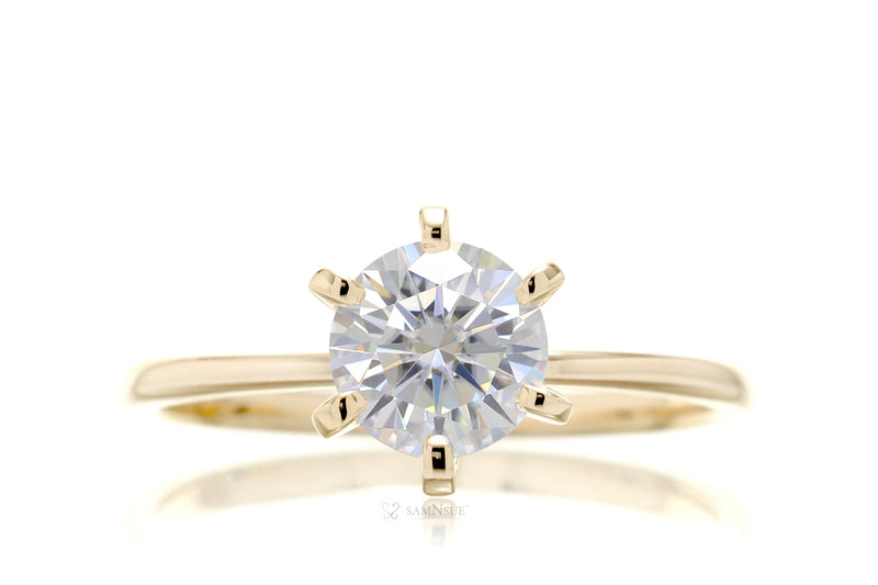 Round Moissanite Solitaire Engagement Ring | The Adeline In Yellow Gold