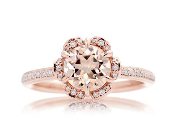 The Anemone Round Morganite Ring Rose Gold