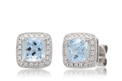Aquamarine Studs Cushion Diamond Halo