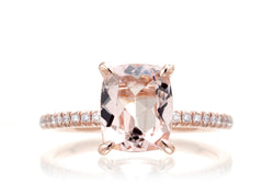 The Ava Long Cushion Morganite Ring Rose Gold