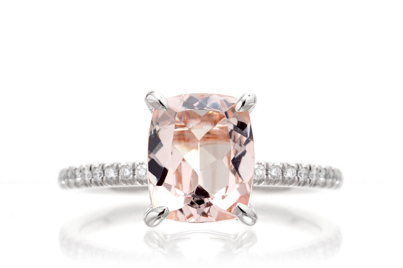 The Ava Long Cushion Morganite Ring White Gold