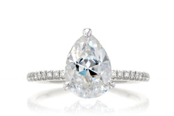 Classic Pear Solitaire Moissanite Engagement Ring With Diamond Accented Band | The Ava