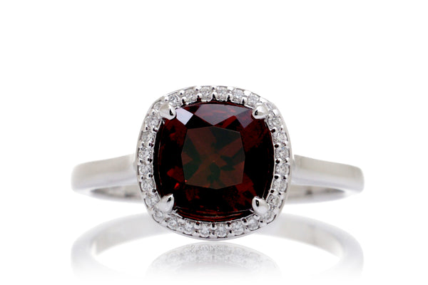 The Chelvy Cushion Garnet Ring (7x7mm)