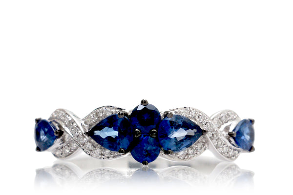The Clary vintage style blue sapphire band with diamond accent in white gold