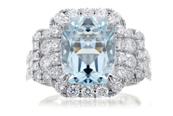 Cushion Aqumarine Diamon Halo Engagement Ring | The Sydney White Gold | Platinum