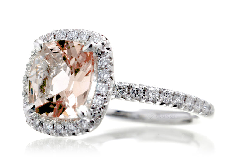 The Drenched Square Cushion Morganite