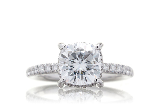 The Drenched Solitaire Cushion Moissanite