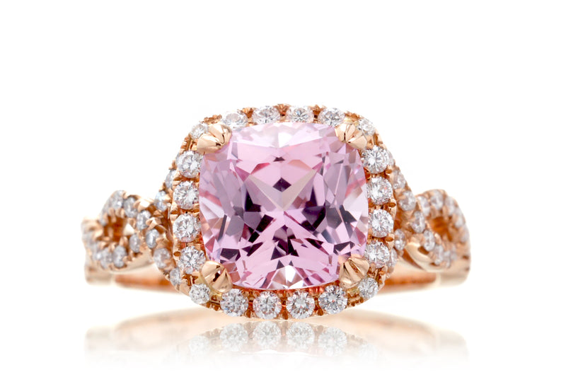The Shelly Cushion Pink Lab Sapphire (8x8)