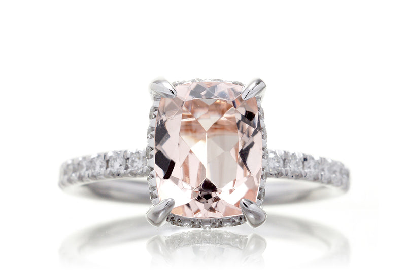 The Drenched Solitaire Cushion Morganite
