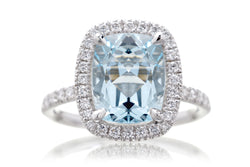 The Drenched Cushion Aquamarine
