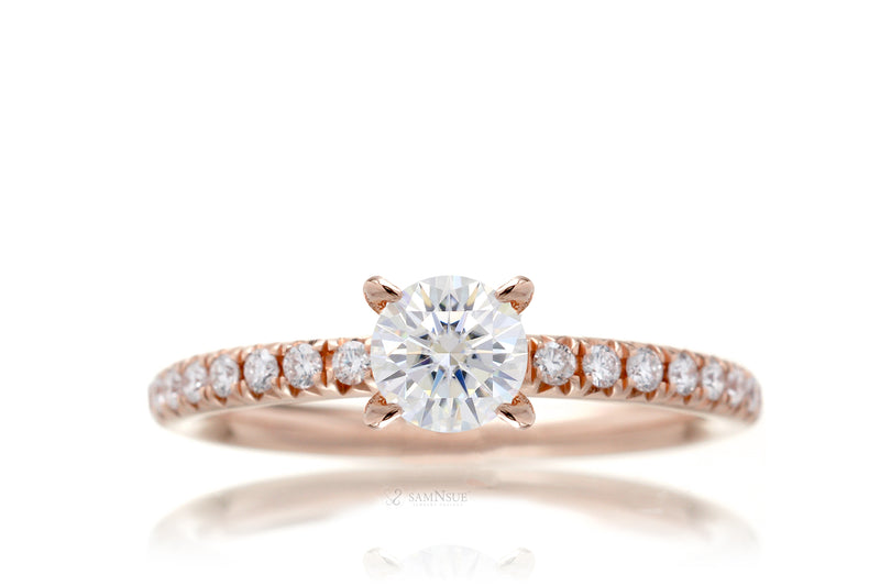 Lab-grown diamond solitaire engagement ring in rose gold half carat center stone