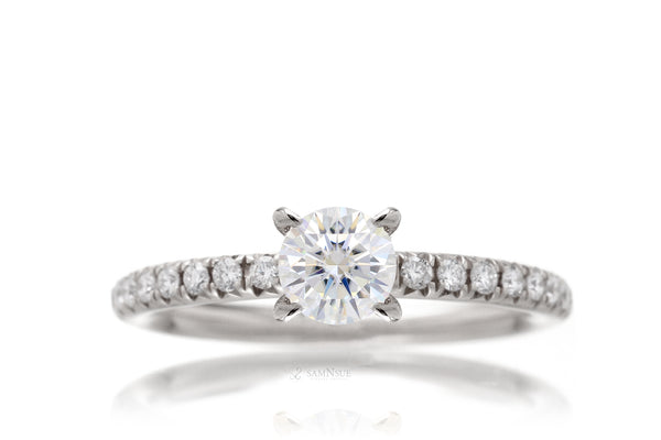 Lab-grown diamond solitaire engagement ring in white gold half carat center stone