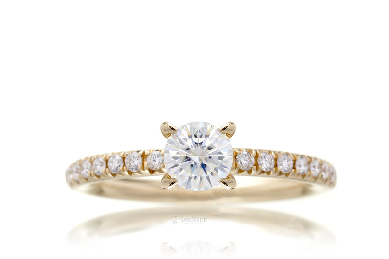 Lab-grown diamond solitaire engagement ring in yellow gold half carat center stone