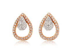 Pear Shape Diamond Teardrop Pave Halo Stud Earrings in Rose Gold