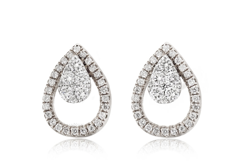 Pear Shape Diamond Teardrop Pave Halo Stud Earrings in White Gold