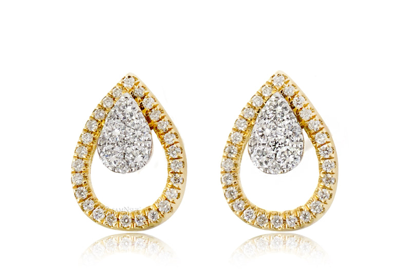 Pear Shape Diamond Teardrop Pave Halo Stud Earrings in Yellow Gold