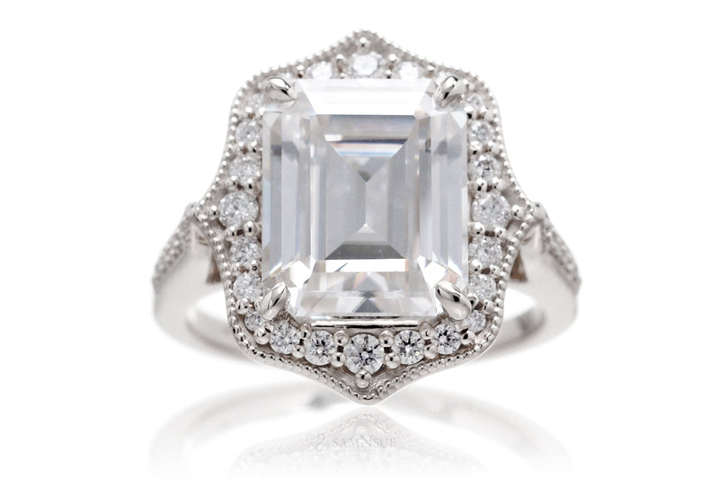 The Genevieve Emerald Cut Moissanite