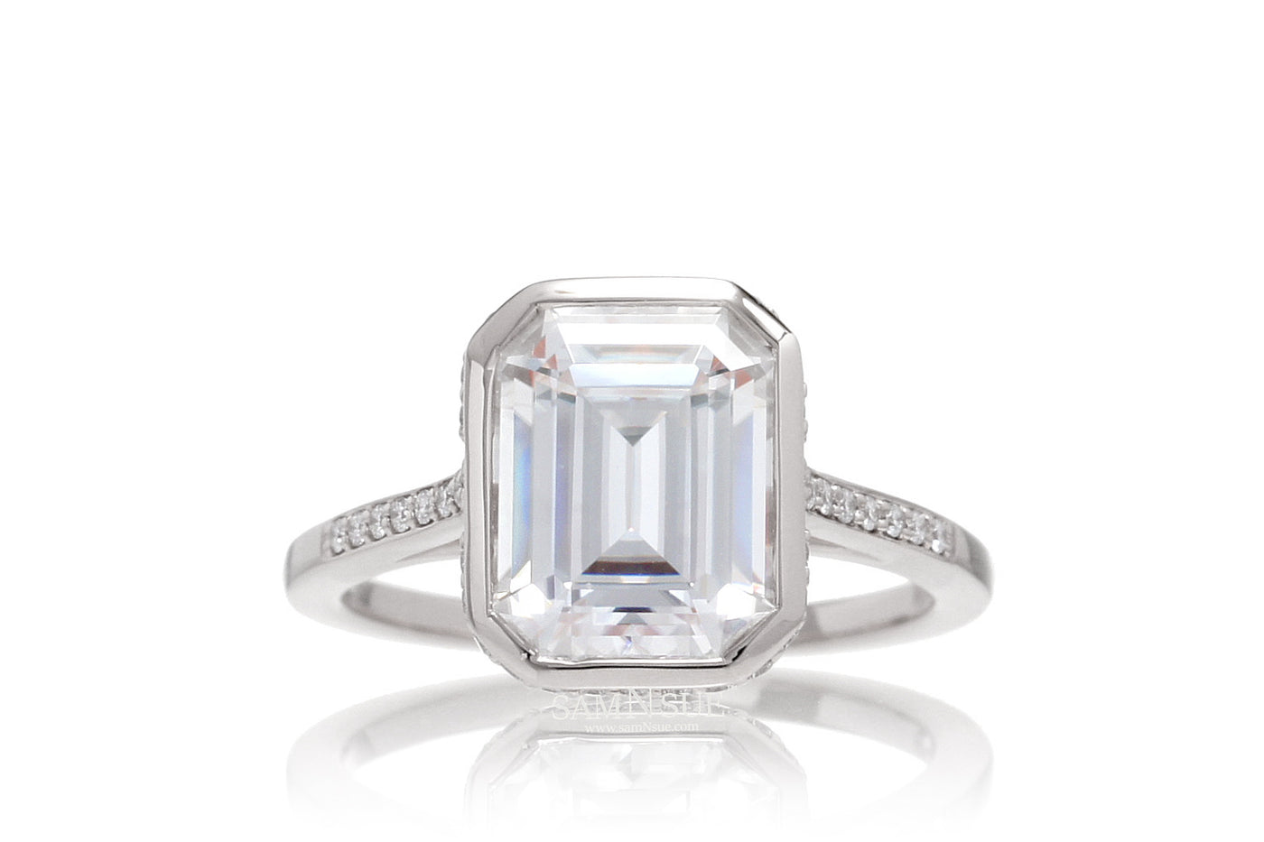 14k Size 7 11x9 Emerald Cut Moissanite Bezel Set Engagement Ring