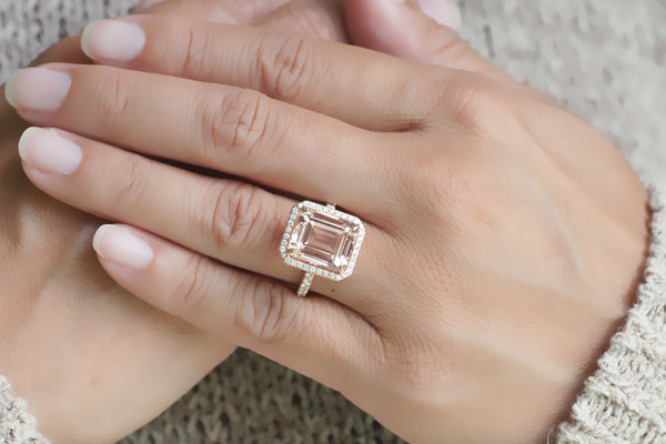 The Drenched Emerald Cut Morganite Engagement Ring – samNsue