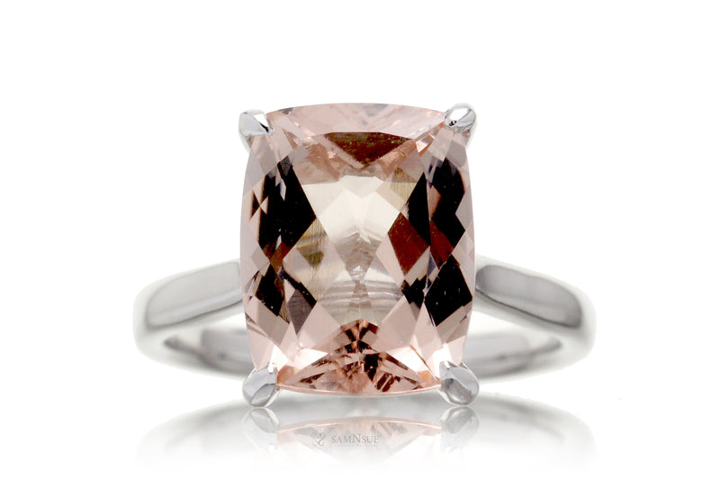The Emily Solitaire Cushion Morganite (11x9mm)