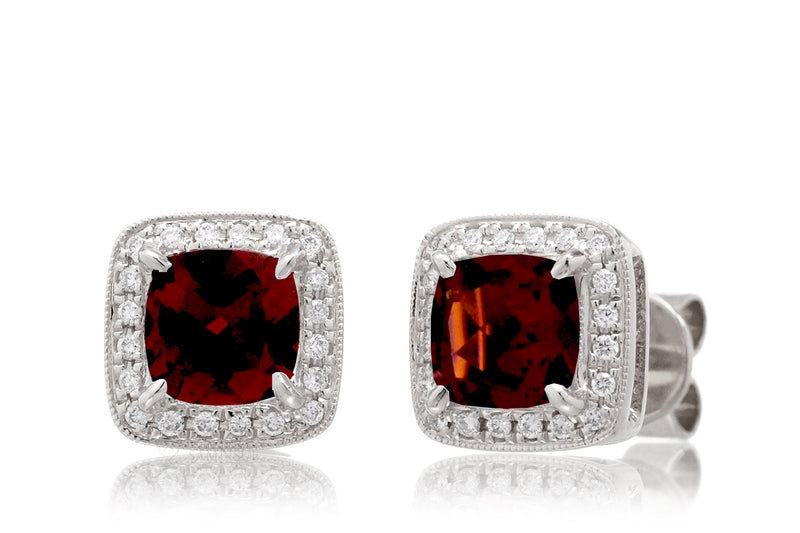 Garnet stud earring cushin cut with diamond halo white gold