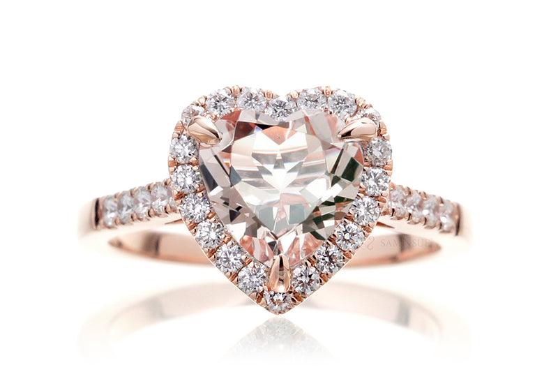 Woman's Heart Morganite Engagement Ring | The Alexa Rose Gold